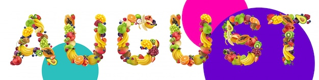 August word made of different fruits and berries