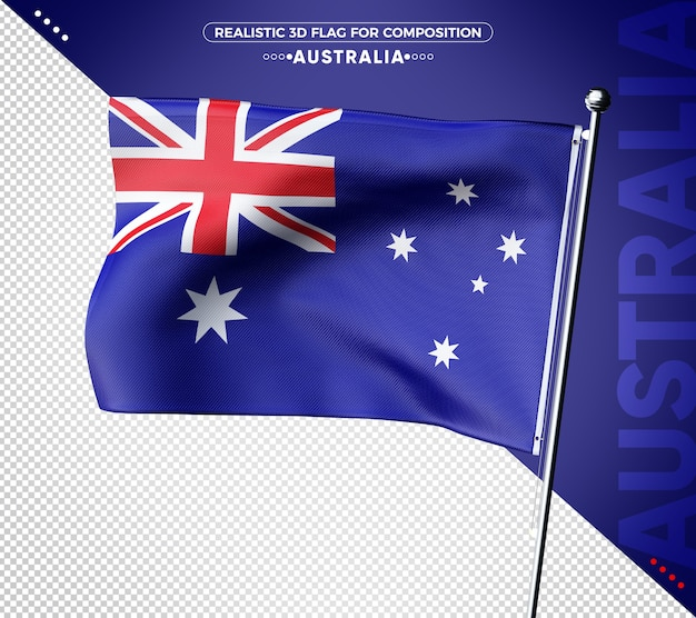 Australia 3d flag with realistic texture
