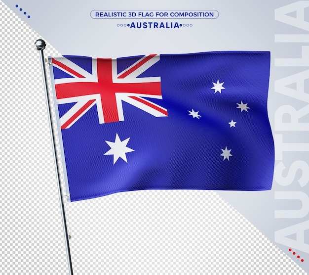 Australia realistic 3d textured flag rendering