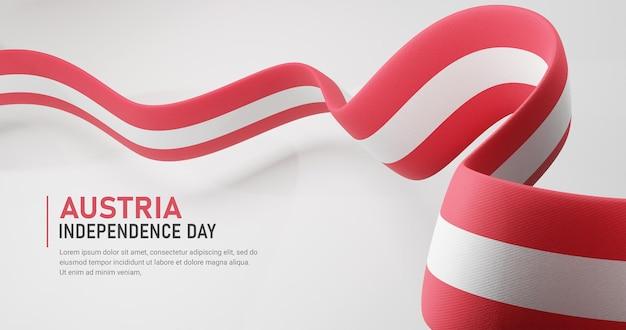 오스트리아 독립 기념일 흔들며 리본 깃발 배너 템플릿