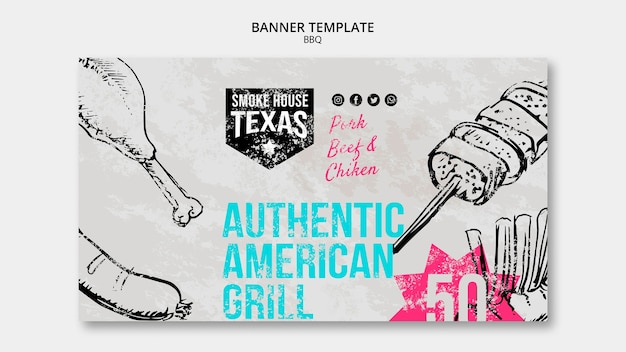 Authentic american grill banner template