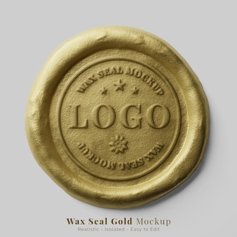 Authentic luxury round royal gold document wax seal stamp logo text effect mockup Premium Psd