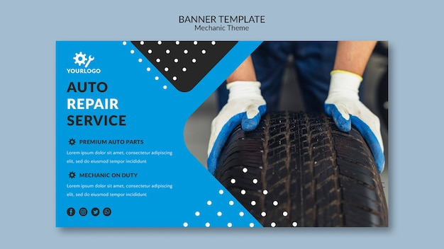 Auto repair service mechanic banner template