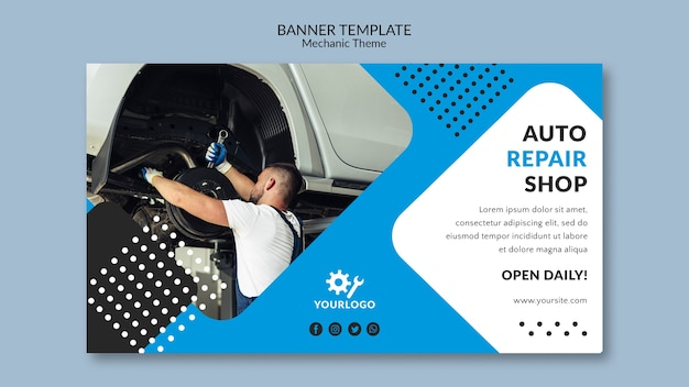 Auto repair shop and worker banner template