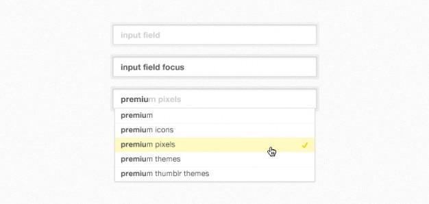 Autosuggest form fields (psd)