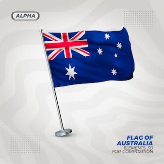 Autralia realistic 3d textured flag