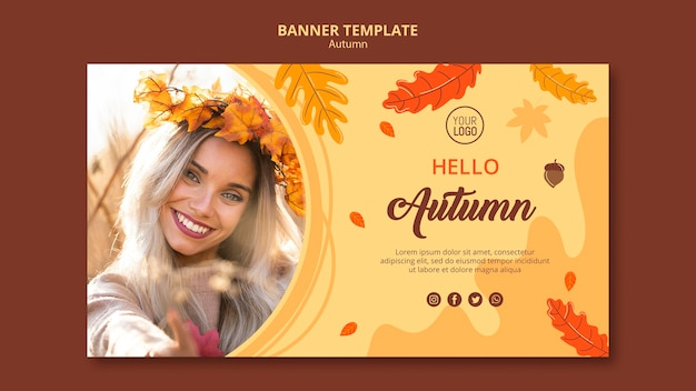 Осенний рекламный баннер шаблон