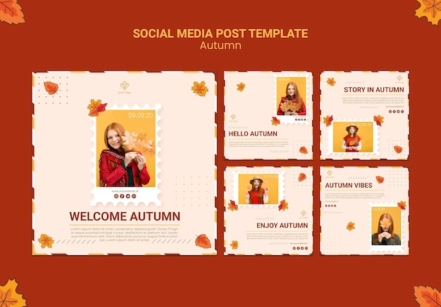Autumn ad social media post template