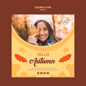 Autumn ad square flyer template