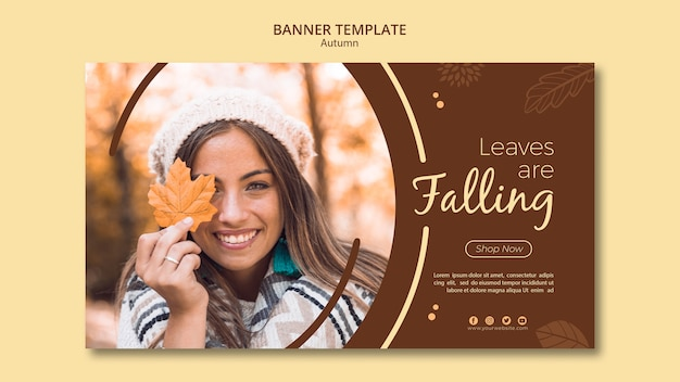 Autumn banner template leaves are falling