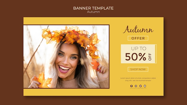 Autumn banner template for seasonal sales
