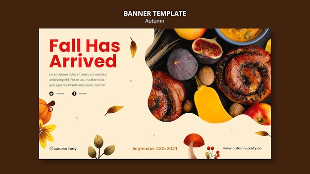 Autumn banner template with photo