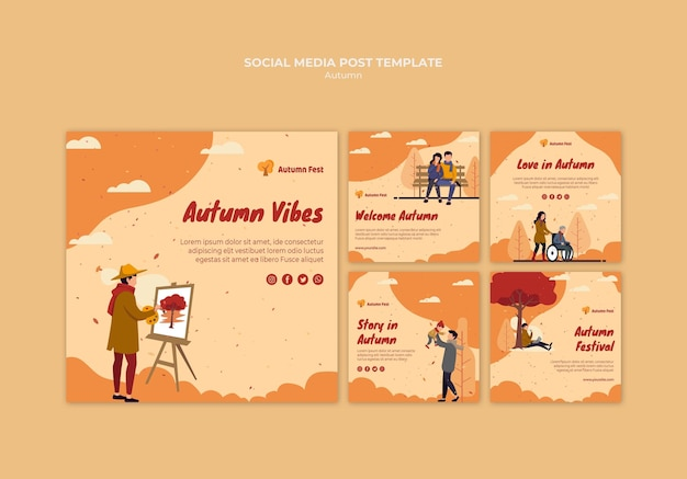 Autumn concept social media post template