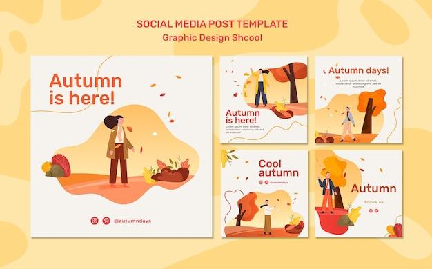 Modello di post sui social media di concetto di autunno