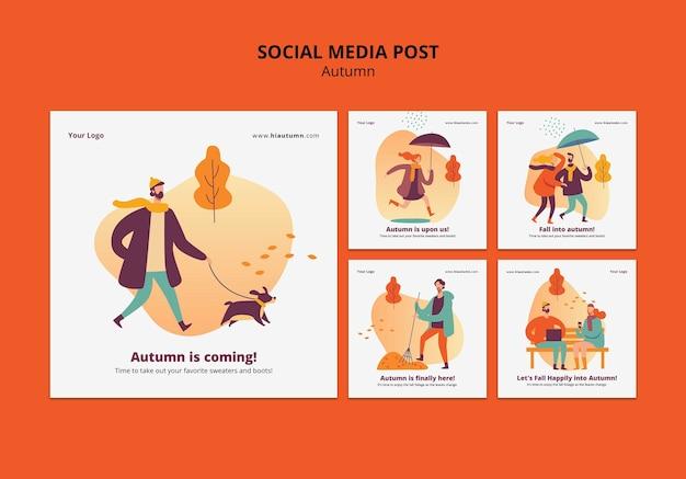 Осенняя концепция поста в социальных сетях