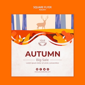 Autumn concept square flyer template