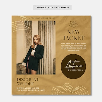 Autumn fashion collection social media banner instagram template