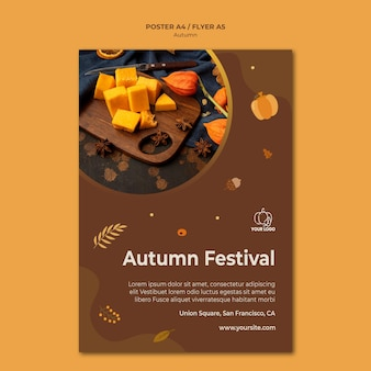 Autumn fest ad poster template