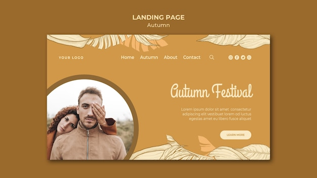Autumn festival and couple landing page