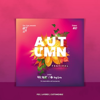Autumn festival event invitation design for square poster or flyer