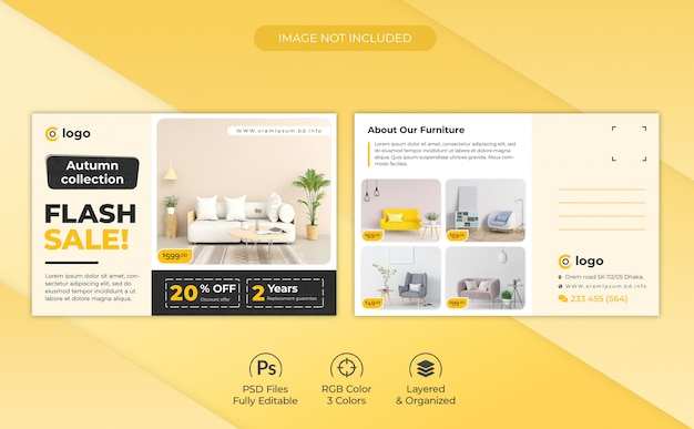 Autumn furniture collection promotional postcard template