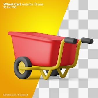 가을 정원 바퀴 카트 3d 그림 렌더링 아이콘 편집 가능한 절연