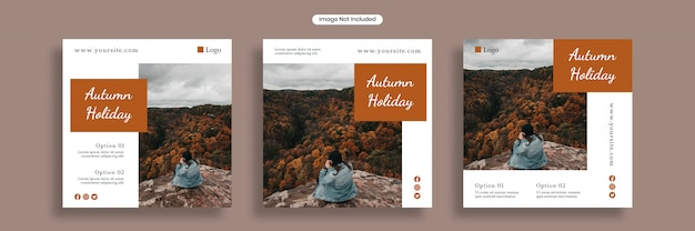 秋の休日ソーシャルメディアバナーテンプレートまたは正方形のチラシコレクション