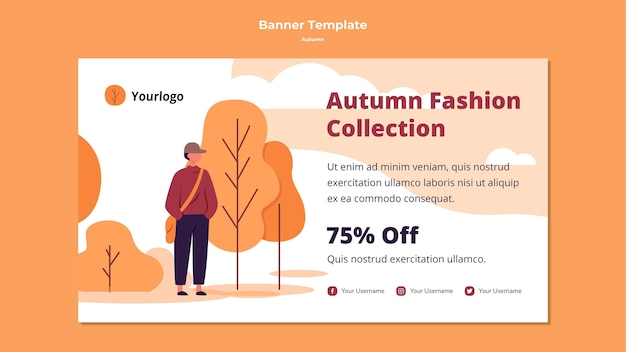 Autumn horizontal banner template