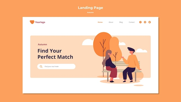 Autumn landing page template design