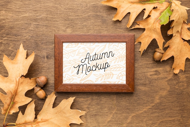 Autumn leaves with frame