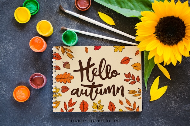 Autumn mock up for greeting card or your notifications.