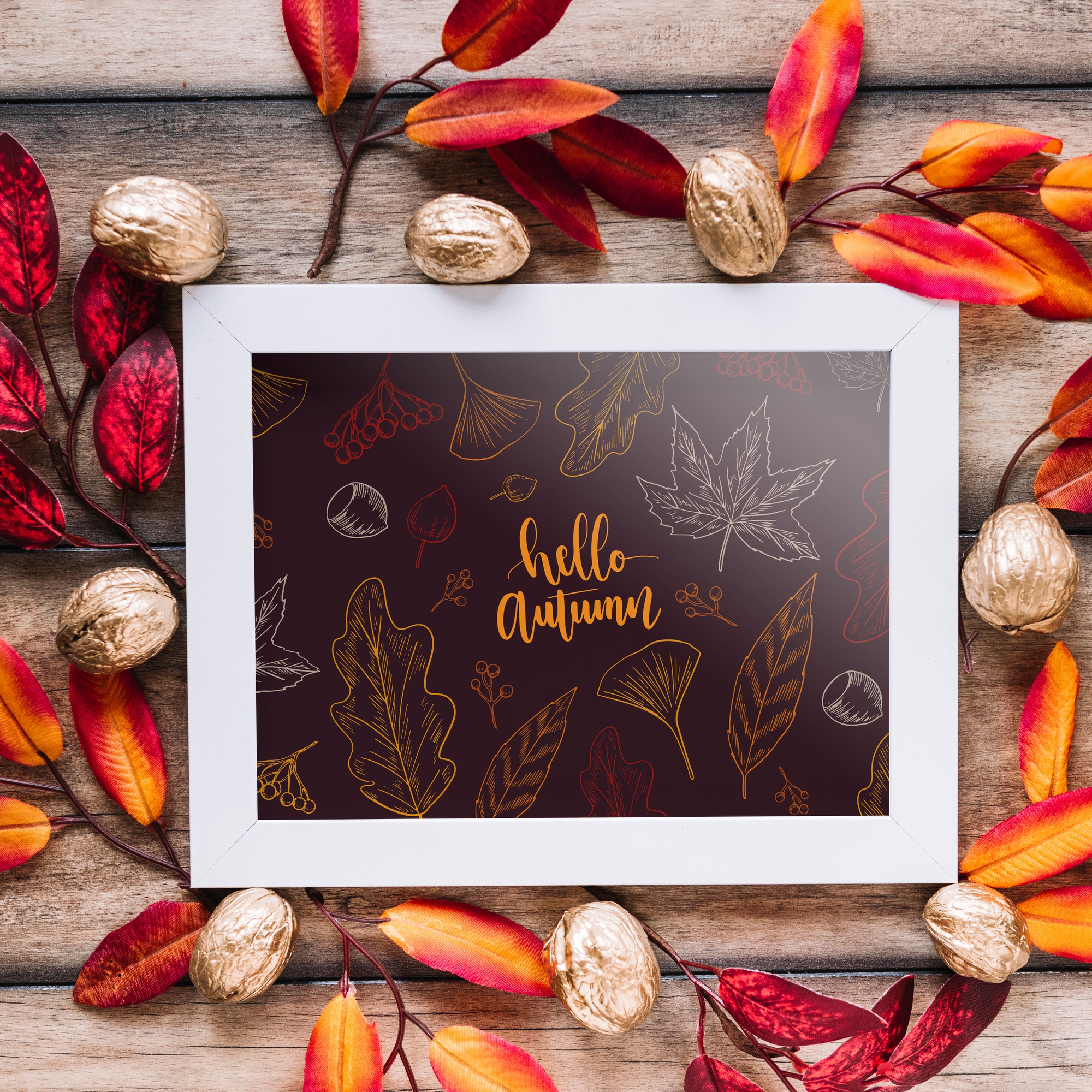 Autumn mockup with frame