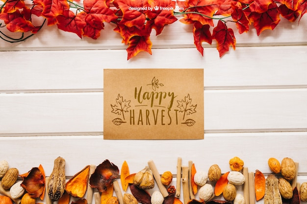 Autumn mockup with greeting card