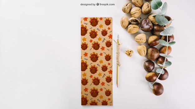 Autumn mockup with nuts