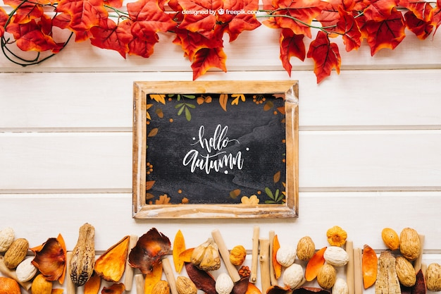 Autumn mockup with slate in between leaves
