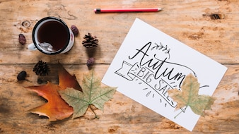 Autumn mockup with white paper