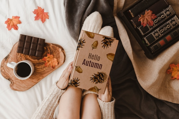 Autumn mockup with woman on bed