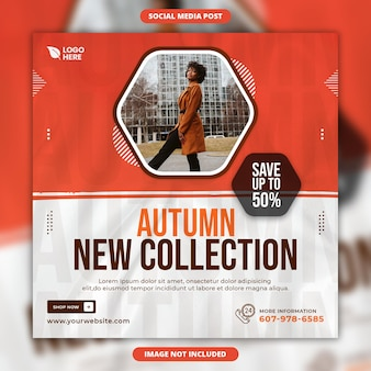 Autumn new collection fashion sale social media and instagram post design