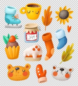 Autumn objects clipart collection
