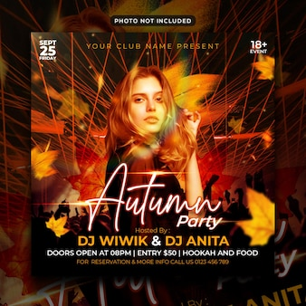 Autumn party flyer social media post and web banner