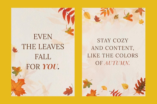 Осенняя цитата шаблон плаката psd с оранжевыми листьями