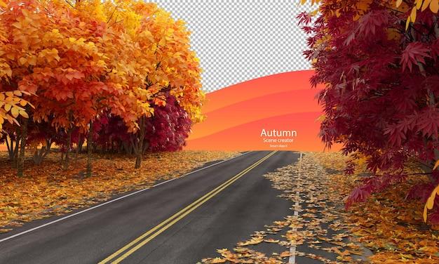 秋の道秋のまっすぐな道秋の木々のクリッピングパス