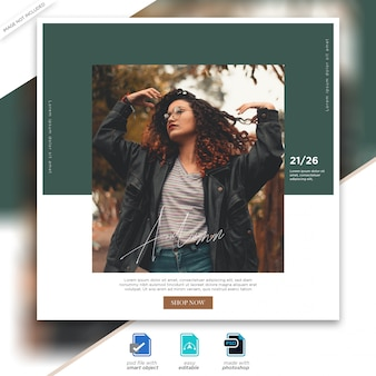 Autumn sale instagram post template premium psd premium psd