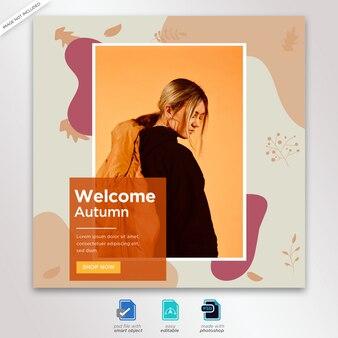 Autumn sale instagram post template premium psd premium psd
