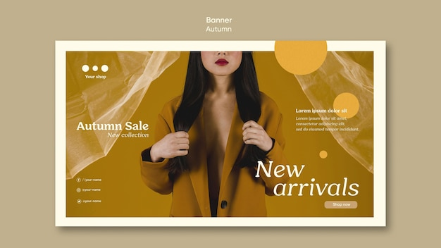 Autumn sale new arrivals banner template