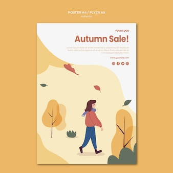 Autumn sale poster template