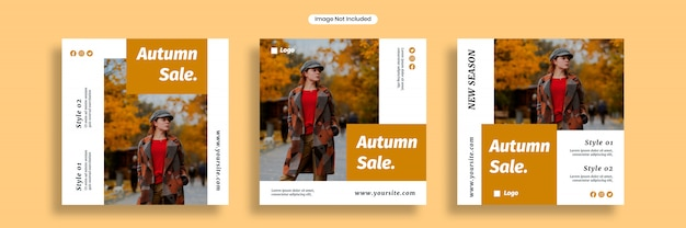秋の販売ソーシャルメディアバナーテンプレートまたは正方形のチラシコレクション