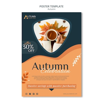 Осенняя распродажа шаблон плаката
