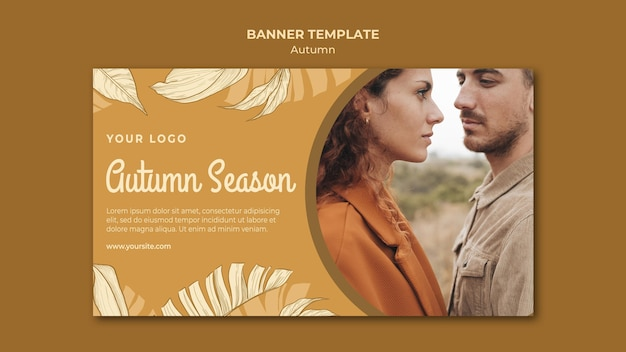 Autumn season and couple banner web template