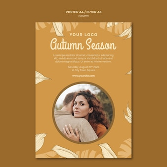 Autumn season and hugs flyer print template